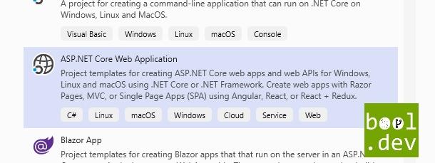 create asp.net core