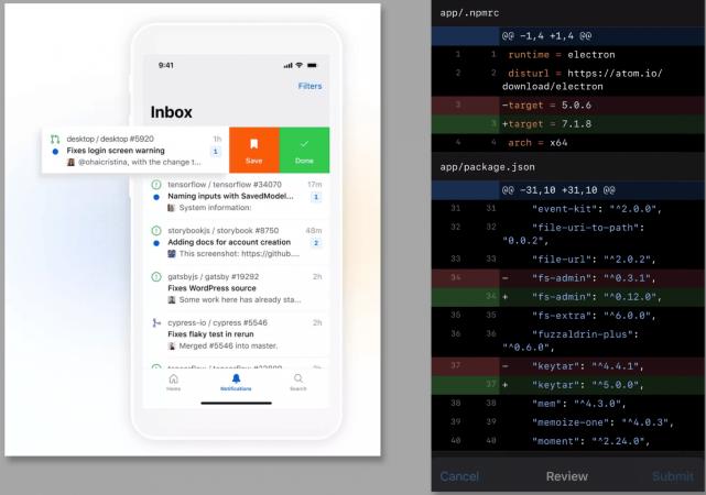 github mobile interface