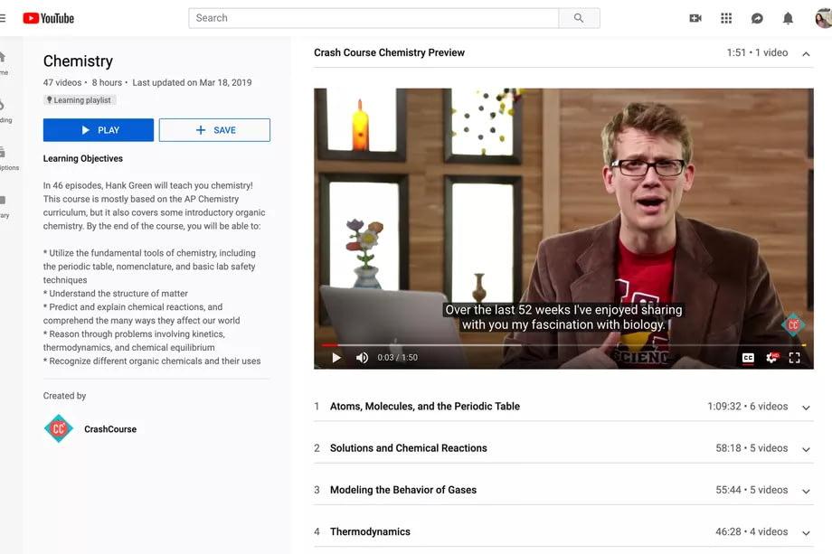 YouTube представил функцию образовательных плейлистов