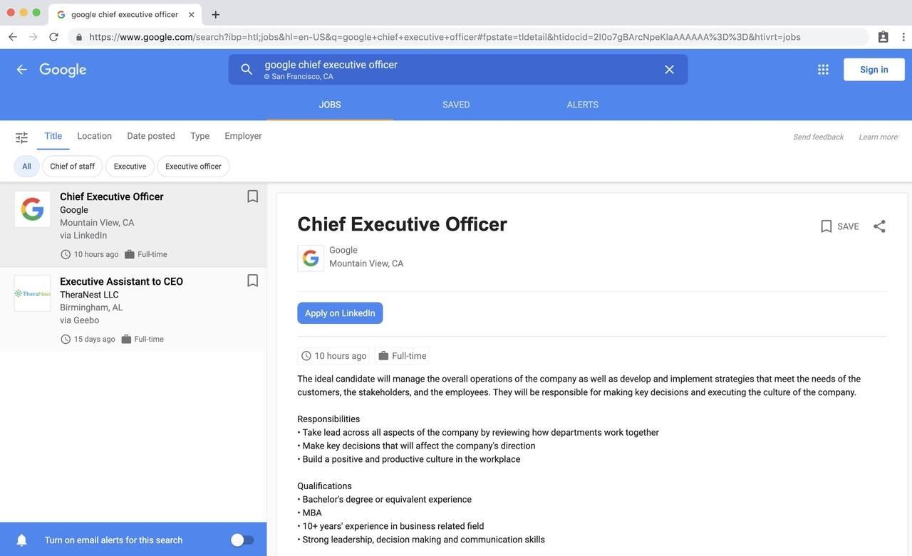 google CEO linkedin