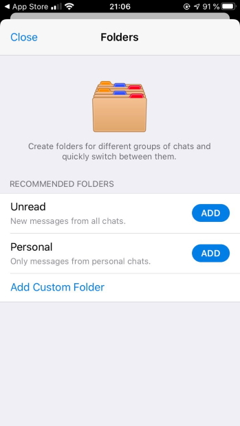 telegram chat folders
