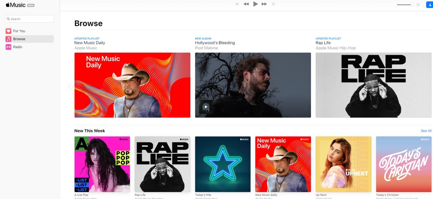 Вышла веб версия Apple Music